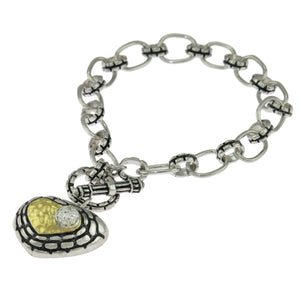 7.5 in Sterling Silver Round Clear CZ Cobblestone Two-Tone Heart Charm Bracelet