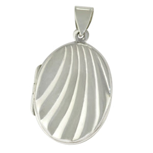 1.5 in - 925 Sterling Silver Oval Sea Shell Locket Pendant Pendant