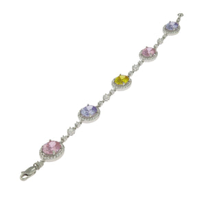 7 in - 925 Sterling Silver Oval Multi-Color Cubic Zirconia Solitaire Bracelet