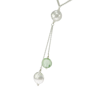 17.5 in Sterling Silver Multi-Color Crystal Double-Strand Station Ball Necklace