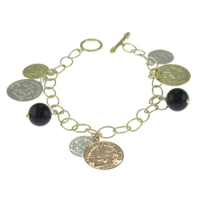 7 in Tri-Tone Gold Over Sterling Silver Black Onyx Ball Coin Multi Drop Bracelet