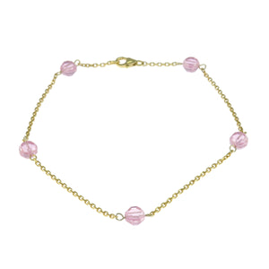 9.5 in - Gold Over 925 Sterling Silver Round Pink Faceted Crystal Bead Anklet