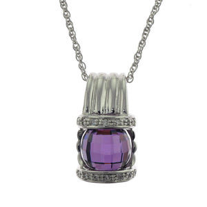 18 in - 925 Sterling Silver Checkered Amethyst Cubic Zirconia Pendant Necklace