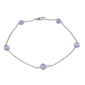 9.5 in - 925 Sterling Silver Round Lavender Faceted Crystal Bead Anklet