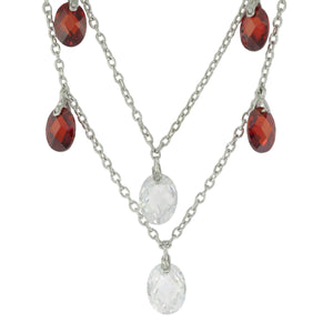 17 in - Sterling Silver Multi-Shape Multi-Color Crystal Station Drop Necklace