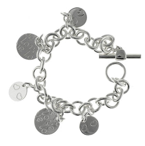 "7.5"" - 925 Sterling Silver Dangling Charms Love Bracelet"