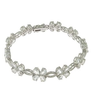 7.5 in - 925 Sterling Silver Pear Clear Cubic Zirconia Flower Link Bracelet