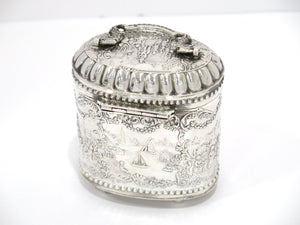 4 1/8 in Sterling Silver Antique Dutch Life in Holland Oval Tea Caddy w/ Handle