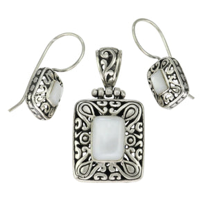 1 3/8 in - Sterling Silver Rectangle White Mother of Pearl Pendant Earrings Set