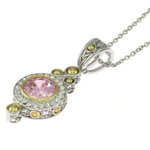 18 in - Sterling Silver Round Pink CZ Solitaire Two-Tone Fancy Pendant Necklace