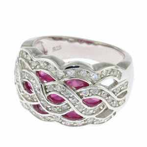 925 Sterling Silver Clear and Ruby CZ Braided Design Band Ring