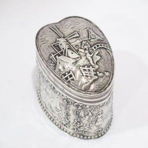 3.5 in - 835 Silver Antique Dutch Windmill Heart-Shaped Tea Caddy