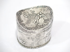 3.75 in Sterling Silver Gilt Interior J.S. Antique English Date Scenes Tea Caddy