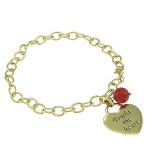 7.5 in - Gold over Sterling Silver Heart Red Crystal Ball Chain Charm Bracelet