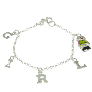 6 in - 925 Sterling Silver Girl Letter Charms Chain Bracelet