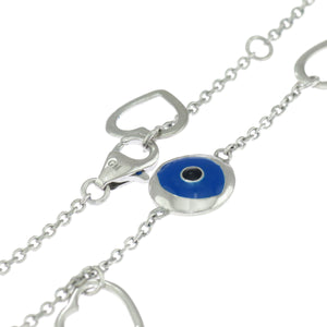 7.5 in - Sterling Silver Blue Enamel Inlay Evil Eye Charm Heart Chain Bracelet