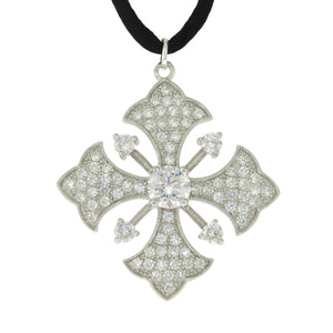 15.5-17.5 in Sterling Silver Esposito Clear CZ Black Cord Maltese Cross Necklace