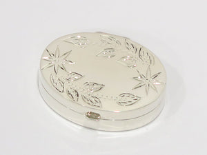 1.5 in - Sterling Silver Antique Italian Floral Oval Pill Case