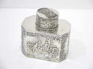 4 in - European Silver Antique German Hanau Socializing Scene Tea Caddy