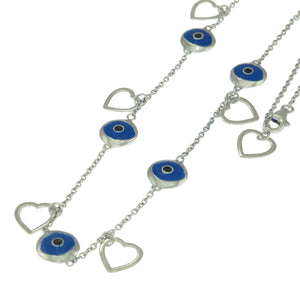 18 in - Sterling Silver Blue Enamel Inlay Evil Eye Heart Charm Chain Necklace