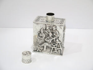 5 in - European Silver Antique Dutch Playing Music Dancing Scene Tea Caddy