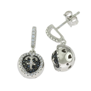 0.75 in Sterling Silver Round Black & White CZ Micro Pave Fleur De Lis Earrings