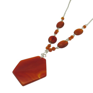 17.5 in - 925 Sterling Silver Hexagon Red Carnelian Necklace