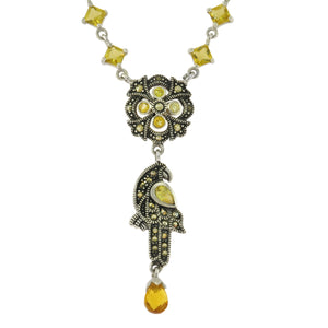 17.5 in - Sterling Silver Multi-Shape Yellow CZ Marcasite Parrot Bird Necklace