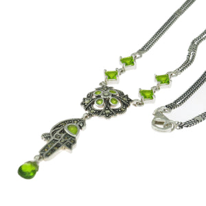17.5 in - Sterling Silver Multi-Shape Green CZ Marcasite Parrot Bird Necklace