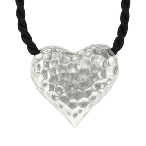17 in - 925 Sterling Silver Puffed Heart Necklace