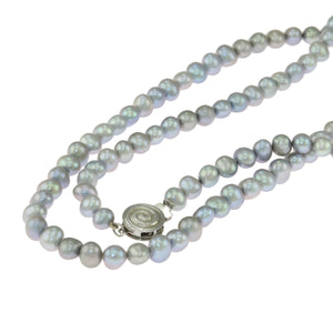 32 in - 925 Sterling Silver Round Gray Pearl Necklace