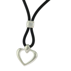 17 in - 925 Sterling Silver Heart Necklace