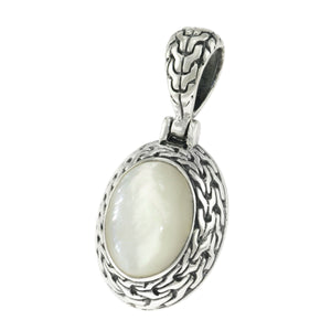 925 Sterling Silver Oval White Mother of Pearl Woven Frame Pendant