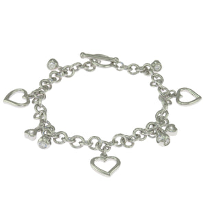 7 in - 925 Sterling Silver Round Clear Cubic Zirconia Heart Charm Chain Bracelet