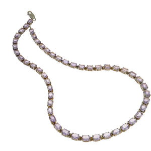 18 in - 925 Sterling Silver Oval Purple Amethyst Necklace