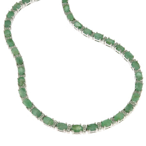 16.25 in - Sterling Silver Oval Natural Emerald Diamond Accented Necklace