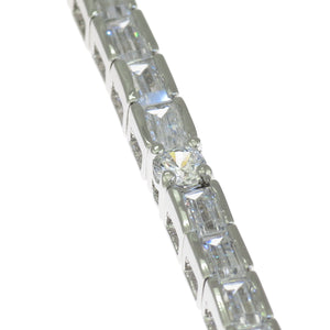 7 in - 925 Sterling Silver Princess Cut & Round Clear CZ Tennis Bracelet