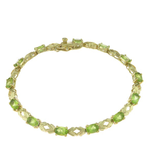 7 in - Gold over 925 Sterling Silver Oval Green Cubic Zirconia Tennis Bracelet