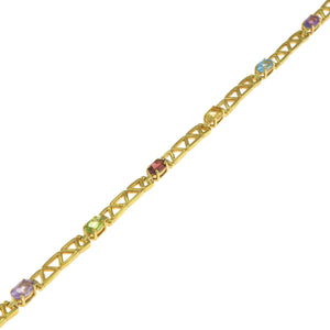 7 in - Gold over 925 Sterling Silver Oval Multi-Color CZ Tennis Bracelet