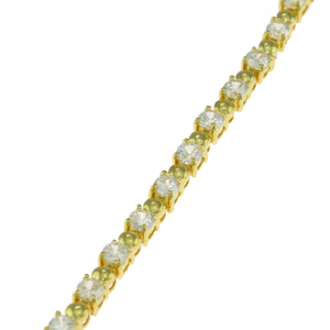 7 in - Gold over 925 Sterling Silver Round Clear Cubic Zirconia Tennis Bracelet