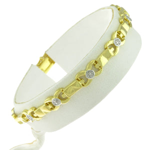 7 in - Gold over 925 Sterling Silver X Link Tennis Bracelet