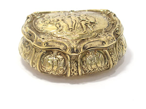 3 3/8 in - Sterling Silver Gilt Antique English Victory Scene Snuff Box