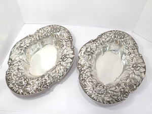 Pair of 15 in - Sterling Silver Gorham Antique Peony Chrysanthemum Serving Bowls