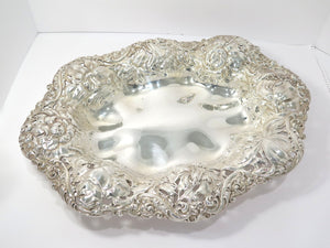 18.5 in - Sterling Silver Gorham Antique Flower-Decorated Footed Serving Plate