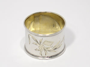 1 5/8 in - 84 Silver Gilt Inside Antique Russian Floral Napkin Ring
