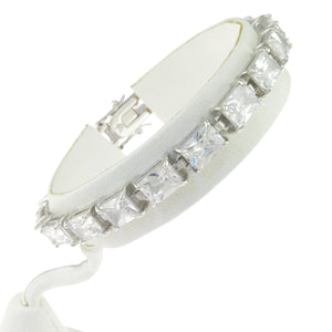 7.5 in - 925 Sterling Silver Rectangle Clear Cubic Zirconia Tennis Bracelet