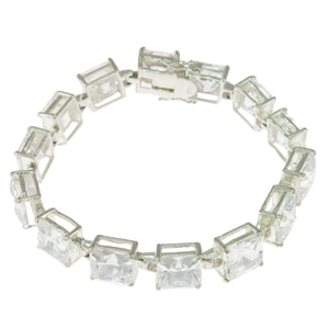 6.5 in - 925 Sterling Silver Princess Cut Clear Cubic Zirconia Tennis Bracelet