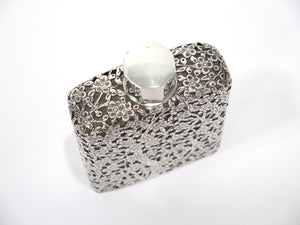 5.25 in Sterling Silver over Glass Wai Kee Hong Kong Vintage Plum Blossom Flask