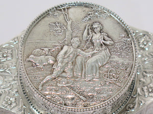 4 3/8 in - European Silver Antique German Hanau Dating/Love Scenes Tea Caddy