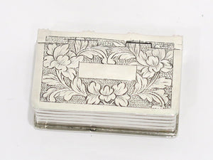1.75 in - 88 Silver Antique Russian Floral Book-Shaped Pill Case/Box